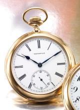 TIFFANY & CO.   A YELLOWGOLD OPEN FACED FIVE-MINUTE REPEATING POCKET WATCH<br />MVT 112007CASE 112007CIRCA 1892