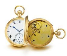 NICOLE NIELSEN   A RARE YELLOW GOLD OPEN FACED WATCH WITH KARUSSEL<br />NO 12119 CIRCA 1904