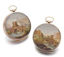 SWISS   A PAIR OF UNUSUAL GOLD AND SILVER OPEN FACE WATCHES WITH MICRO MOSAICS<br />NO 2803 & 2804 CIRCA 1820