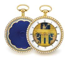 SWISS   A GOLD QUARTER REPEATING AUTOMATON WATCH<br />19TH CENTURY