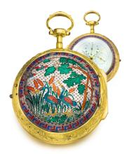 UNSIGNED   A VERY RARE GILTCOPPER AND ENAMEL CHINESE MUSICAL COACH WATCH <br />CIRCA 1780