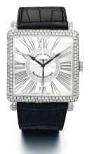 FRANCK MULLER | A WHITE GOLD AND DIAMOND-SET SQUARE WRISTWATCH WITH DATE<br />REF 6000 NO 76 MASTER SQUARE CIRCA 2011
