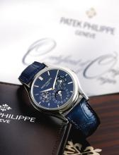 PATEK PHILIPPE | A FINE PLATINUM PERPETUAL CALENDAR WRISTWATCH WITH MOON-PHASES LEAP YEAR AND 24-HOUR INDICATION <p>REF 5140 MVT 5753615 CASE 4651956 CIRCA 2013</p>