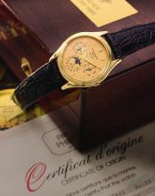 PATEK PHILIPPE | A FINE LIMITED EDITIONYELLOW GOLD AUTOMATIC PERPETUAL CALENDAR WRISTWATCH WITH MOON PHASES, MADE FOR THE 225TH ANNIVERSARY OF BEYER ZÜRICH<br />REF 3940 MVT 770020 CASE 2817897 NO 20/25 MADE IN1985