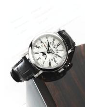 PATEK PHILIPPE | A FINEWHITE GOLD AUTOMATIC PERPETUAL CALENDAR WRISTWATCH WITH CENTER SECONDS, RETROGRADE DATE, MOON PHASES AND LEAP YEAR INDICATION <p>REF 5159 MVT 3720274 CASE 4447415 CIRCA2008</p>