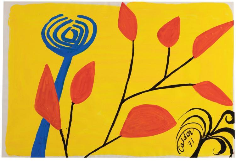 ALEXANDER CALDER   Flower on a Yellow Ground