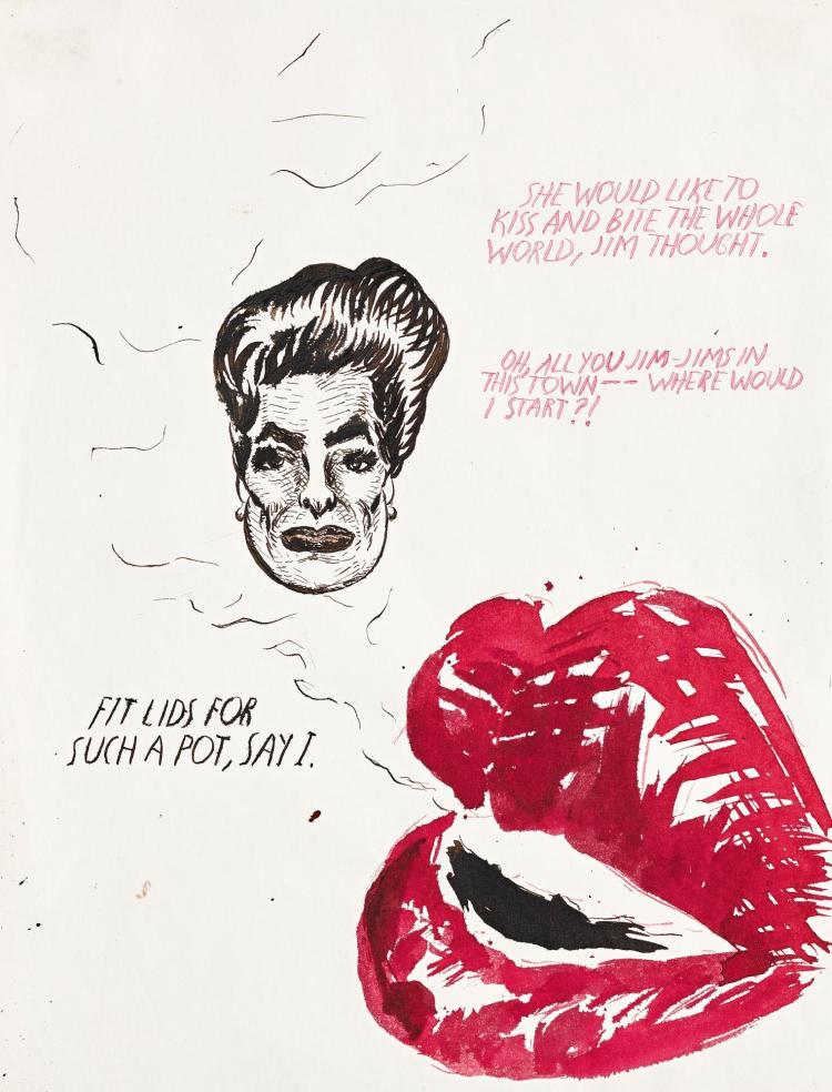 RAYMOND PETTIBON   Untitled (She would like to kiss...)