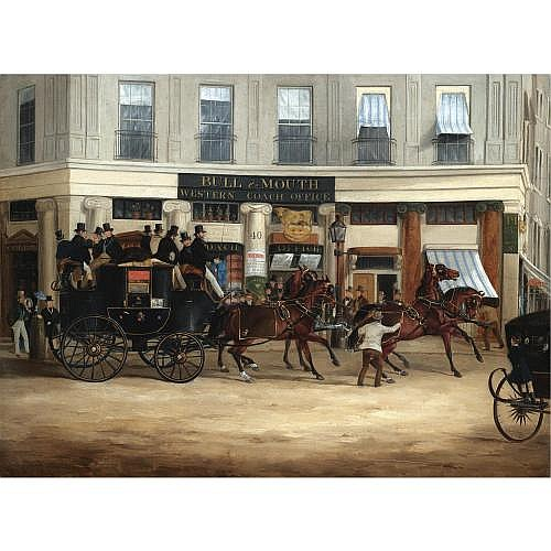 William Joseph Shayer 1811-1892 , The Duke of Beaufort's coach leaving the Bull and Mouth Coach Office for Brighton