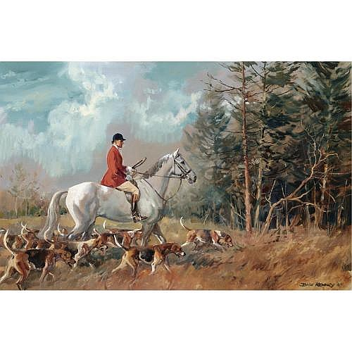 John Theodore Eardley Kenney 1911-1972 , Colonel Murray-Smith, Joint Master of the Fernie on a grey hunter with hounds