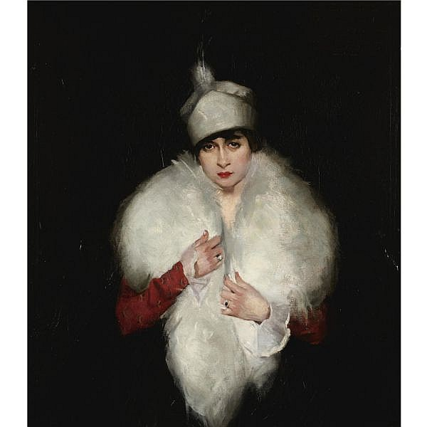 Maurice Molarsky 1885-1950 , Woman in White Fur Wrap oil on canvas