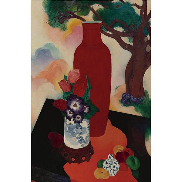 Stanton MacDonald Wright 1890-1973 , Lang Yao, Still Life Synchrony oil on canvas
