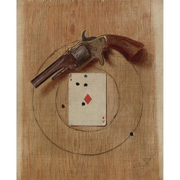 De Scott Evans 1847-1898 , Pistol and Ace   oil on canvas
