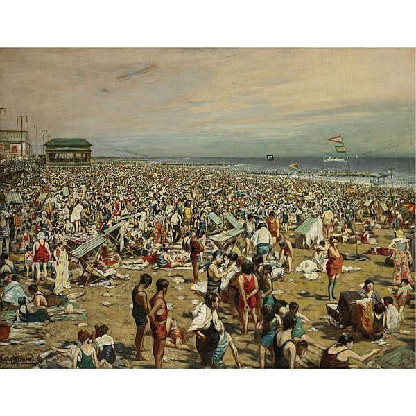 Harry Roseland 1867-1950 , The Beach at Coney Island oil on canvas