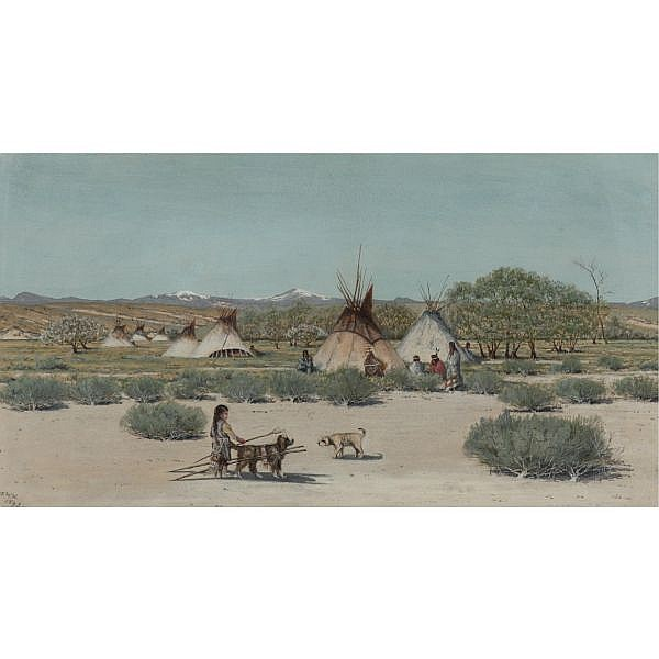 Dwight W. Huntington 1851-1938 , The Young Dog Trainer, Sioux Indian Encampment gouache on paper
