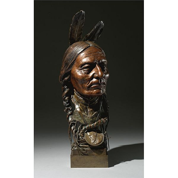 Carl Kauba 1865-1922 , Indian Chief bronze polychrome