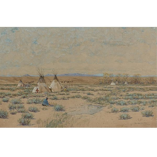 Dwight W. Huntington 1851-1938 , Sioux Indian Encampment gouache with traces of pencil on paper