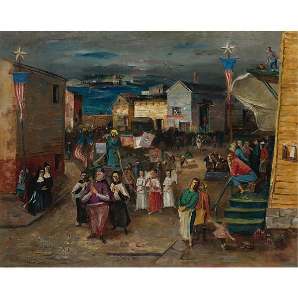 Louis Bosa 1905-1981 , Blessing of the Fleet oil on canvas