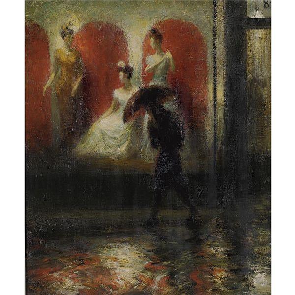 John Koch 1910-1978 , Shop Windows, Night oil on canvas