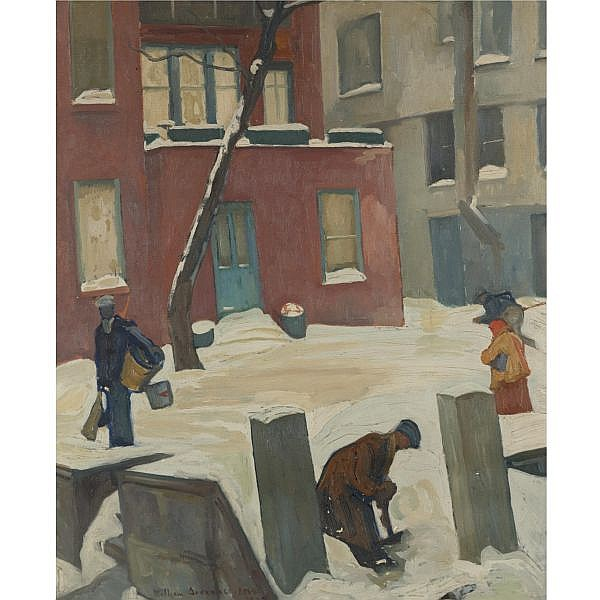 William Auerbach-Levy 1889-1964 , Winter in Greenwich Village oil on canvas
