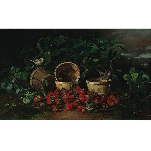 Edward C. Leavitt 1842-1904 , Still Life with Strawberries and Sparrows oil on canvas