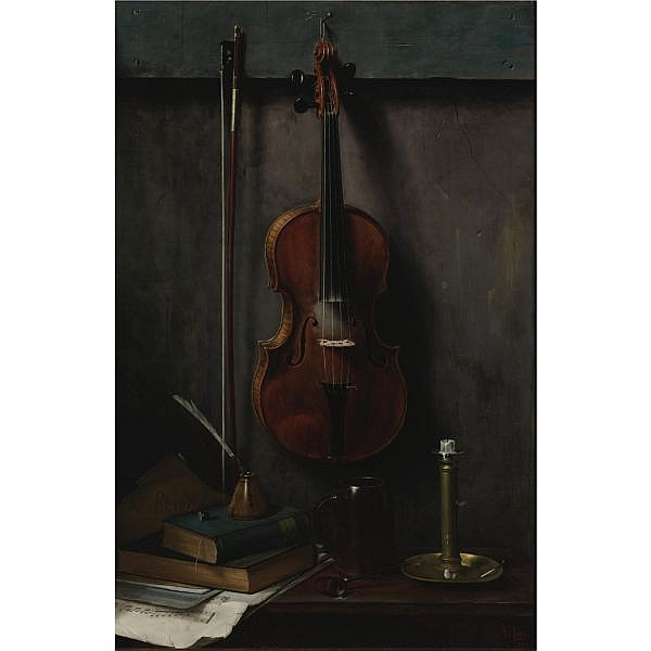 Albert F. King 1854-1945 , Still Life with Violin oil on canvas