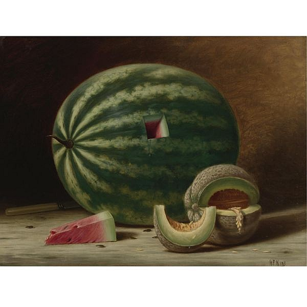 Albert F. King 1854-1945 , Still Life with Watermelon and Cantaloupe oil on canvas