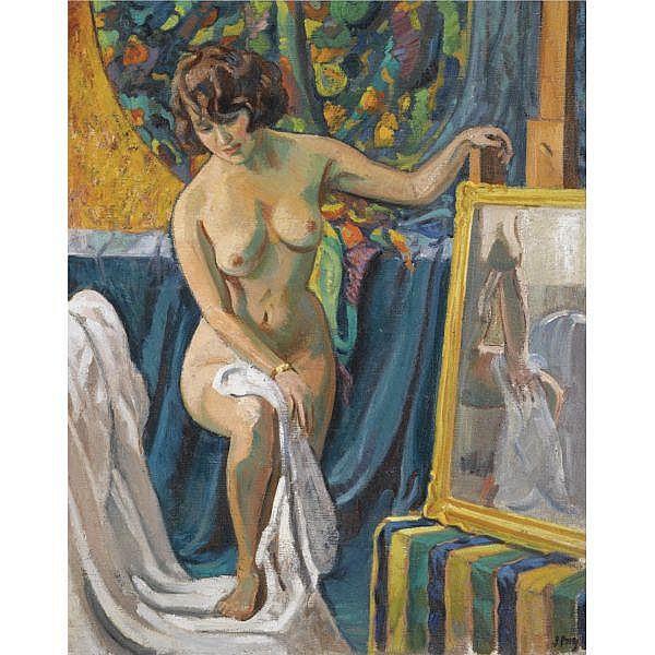Jean Puy , 1876 - 1960   NU AU PEIGNOIR oil on canvas