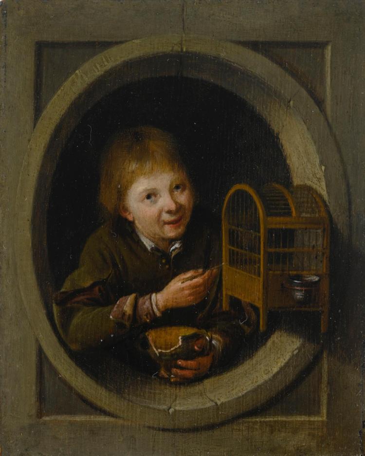 PIETER CORNELISZ. VAN SLINGELANDT | Boy in a window with a birdcage