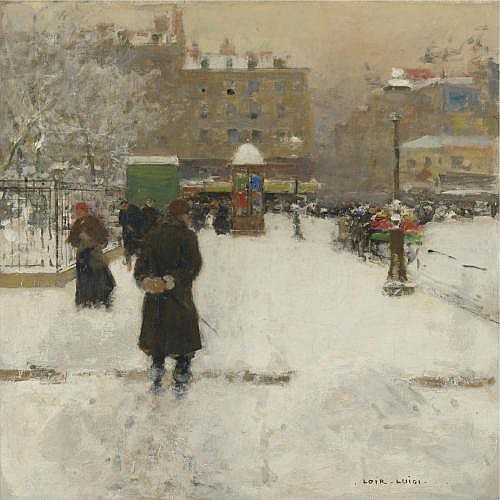 Luigi Loir , The Square du Temple, Paris in Winter