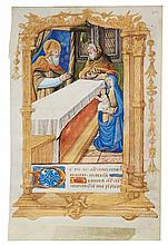 PRESENTATION IN THE TEMPLE, MINIATURE ON A LEAF FROM A BOOK OF HOURS, IN LATIN [FRANCE (PARIS), C.1510-20] |