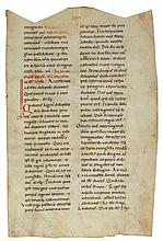 LARGE LEAF FROM A ROMANESQUE COLLECTION OF SERMONS, IN LATIN [ITALY, 12TH CENTURY] |