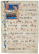 MARTYRDOM OF ST LAWRENCE, HISTORIATED INITIAL ON A LEAF FROM AN ANTIPHONARY, IN LATIN [ITALY (FLORENCE), C.1340] |