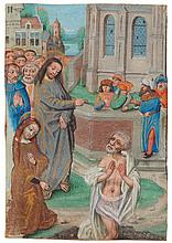 THE RAISING OF LAZARUS, MINIATURE FROM A BOOK OF HOURS [SOUTHERN NETHERLANDS (BRUGES), C.1480-90] |