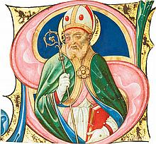A BISHOP SAINT, HISTORIATED INITIAL FROM A CHOIRBOOK, IN LATIN [ITALY (PAVIA), C.1500] |