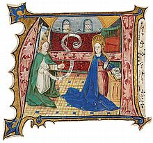 THE ANNUNCIATION TO THE VIRGIN, HISTORIATED INITIAL FROM A CHOIRBOOK, IN LATIN [SOUTHERN NETHERLANDS (GHENT OR BRUGES)], DATED 1471 |