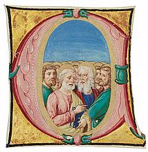 ALL SAINTS, HISTORIATED INITIAL FROM A CHOIRBOOK, IN LATIN [ITALY (VERONA), C.1510-20] |