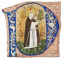 ST DOMINIC, LARGE HISTORIATED INITIAL FROM A CHOIRBOOK, IN LATIN [AUSTRIA (TYROL?), C.1430-50] |