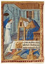 ST MATTHEW WRITING, FULL-PAGE MINIATURE ON A LEAF FROM A BOOK OF HOURS, IN LATIN [FRANCE (BOURGES), C.1475) |