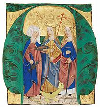 SAINTS ELIZABETH, MARGARET, AND KATHERINE, HISTORIATED INITIAL CUT FROM AN ANTIPHONARY, IN LATIN [SOUTHERN GERMANY OR AUSTRIA (PERHAPS SALZBURG), C.1460-90] |