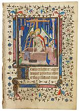 CHRIST AS MAN OF SORROWS SURROUNDED BY THE INSTRUMENTS OF THE PASSION AND VENERATED BY A BISHOP, MINIATURE ON A LEAF FROM A BOOK OF HOURS, IN LATIN [FRANCE (PARIS), C.1420] |