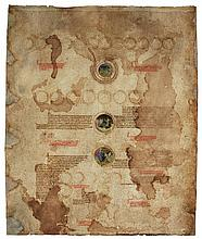 FIVE SHEETS OF A HUGE ROLL OF A TRANSLATION OF PETER OF POITERS, COMPENDIUM HISTORIAE IN GENEALOGIA CHRISTI, IN FRENCH [FRANCE (PARIS), C.1400-10] |