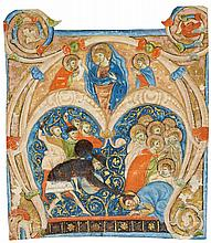 MARTYRDOM OF A SAINT, HISTORIATED INITIAL FROM A CHOIRBOOK, IN LATIN [ITALY, UMBRIA, C.1300] |