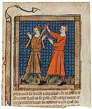 CAIN KILLING ABEL, MINIATURE STUCK TO A CUTTING FROM A BIBLE HISTORIALE, IN FRENCH [FRANCE (PARIS), EARLY 14TH CENTURY] |