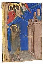 A SAINT (JOHN THE BAPTIST?) DIRECTED TO BOLOGNA BY ANGELS, HISTORIATED INITIAL FROM AN ANTIPHONARY, IN LATIN [ITALY (BOLOGNA), C.1360-65] |