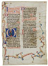 ST ANDREW, HISTORIATED INITIAL ON A LEAF FROM A MISSAL, IN LATIN [ITALY, UMBRIA, C.1320-30] |