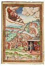 VENUS IN HER CHARIOT OVER A VIEW OF ROME, FULL-PAGE MINIATURE [ITALY, C.1540] |