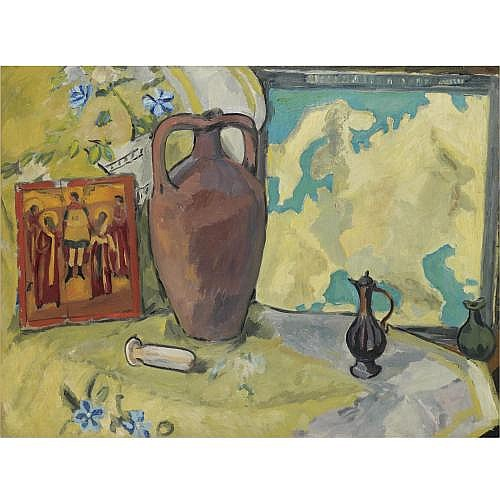 f - Mikhail Fedorovich Larionov, 1881-1964 , Still life with Jug and Icon, c.1910-1912