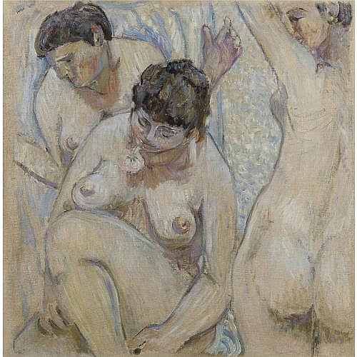 f - Mikhail Fedorovich Larionov, 1881-1964 , THREE FEMALE BATHERS WITH A ROSE, 1904