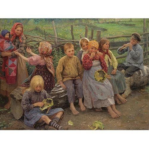 Fedot Vasilevich Sychkov, 1870-1958 , children with sunflowers