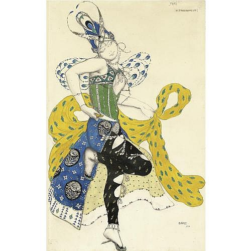 Lev Samoilovich Bakst, 1866-1924 , costume for Natalia Trouhanova in La Peri
